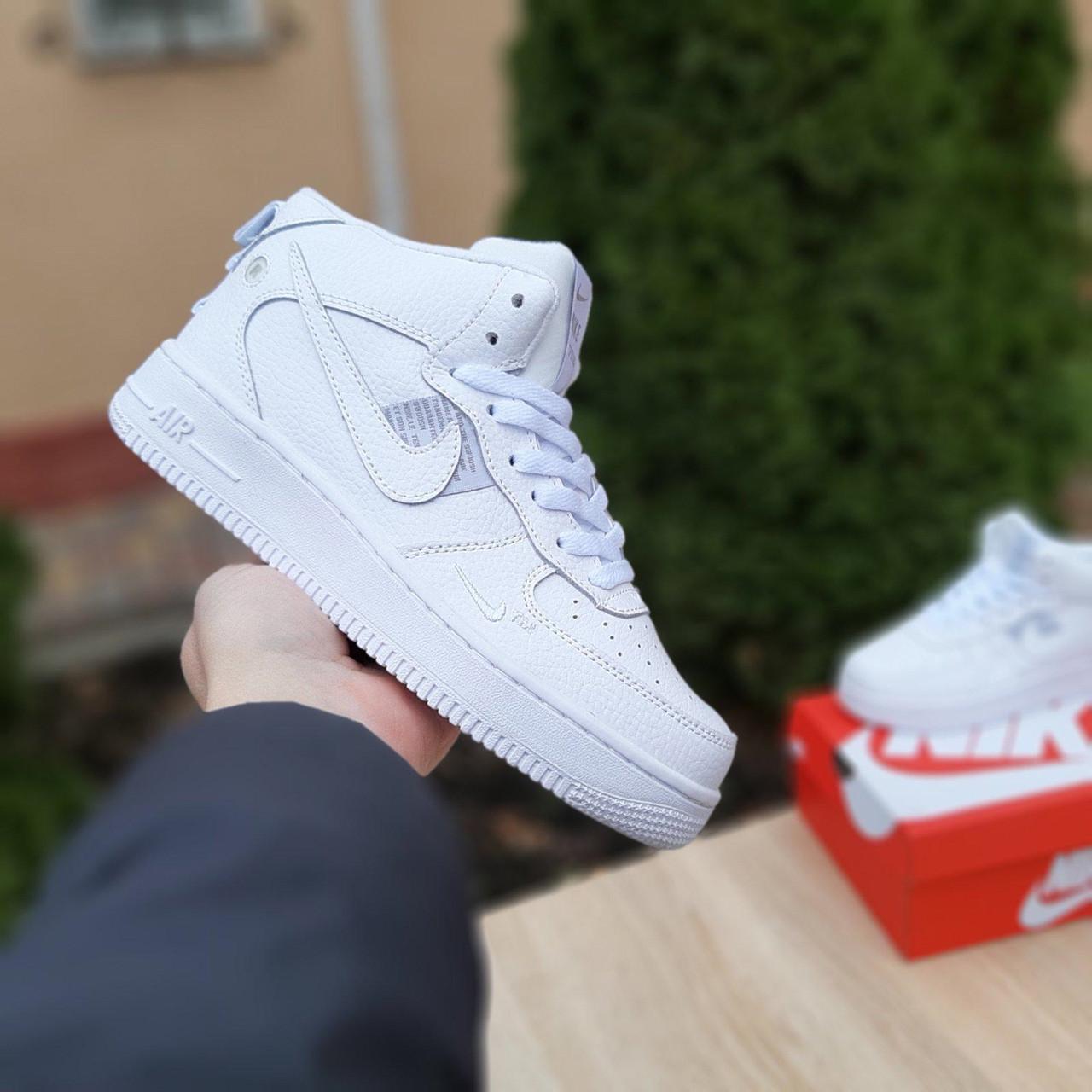 Женские кроссовки Nike Air Force 1 Mid LV8 (белые) ЗИМА 3659