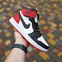 Мужские кроссовки Nike Air Jordan 1 Retro (белые с черным и красным) 10334