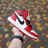 Мужские кроссовки Nike Air Jordan 1 Retro (белые с красным) 10335