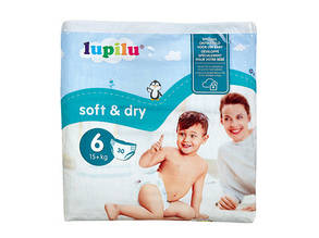Підгузники Lupilu Soft & Dry розмір 6 (15+ кг), 30 шт