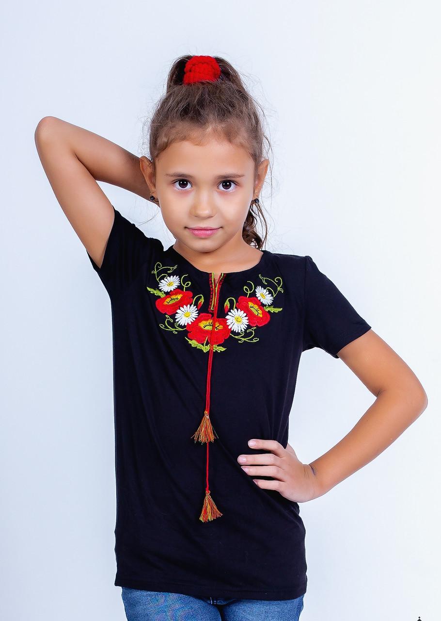 Стильная футболка для девочки черного цвета «Маки-ромашки»