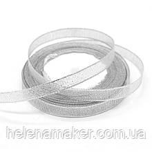 Лента парчовая серебряная 20 мм на метраж