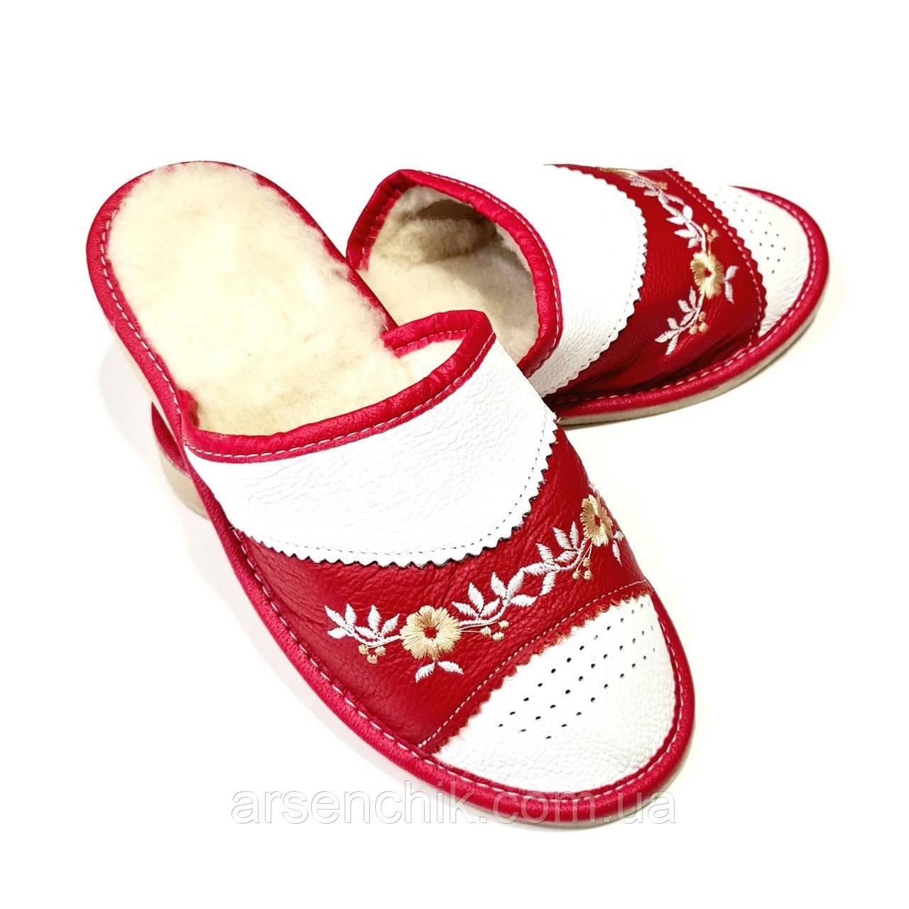 """Кожаные тапочки женские на овчине """"Tylbut"""" 39 Красный"""