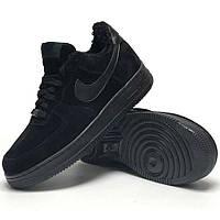 Мужские зимние кроссовки в стиле Nike Air Force 1 Low, натуральная замша, (с мехом), черный, Китай