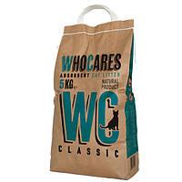 Впитывающий минеральный наполнитель для туалета кота WC (WhoCares) Classic без запаха 5 кг.