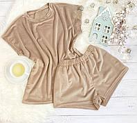 Женский плюшевый комплект футболка и шорты L-XL беж