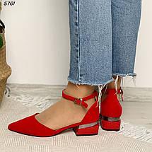 Червоні туфлі на стійкому каблуці 5761 (СБ), фото 2