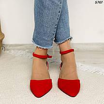 Червоні туфлі на стійкому каблуці 5761 (СБ), фото 3