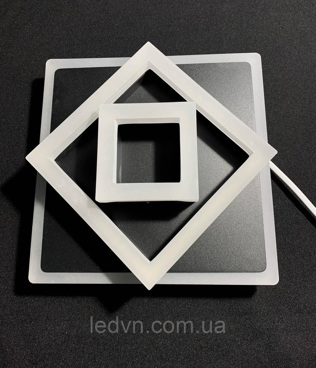 Светодиодный потолочный светильник квадрат черный