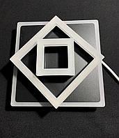 Светодиодный потолочный светильник квадрат черный, фото 1
