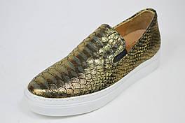 Слипоны Lottini 26-52 39 Золотистые кожа