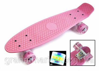 Penny Board Pastel Series Нежно-розовый цвет. Светящиеся колеса