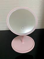 Настольное зеркало c LED подсветкой для макияжа круглое розовое, фото 1