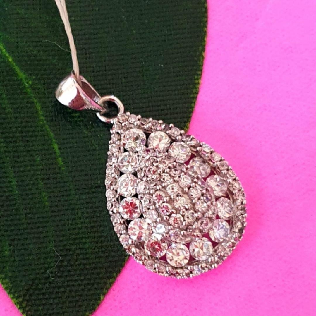 Серебряный женский кулон Бриллиантовая капелька - Подвеска Капля серебро 925