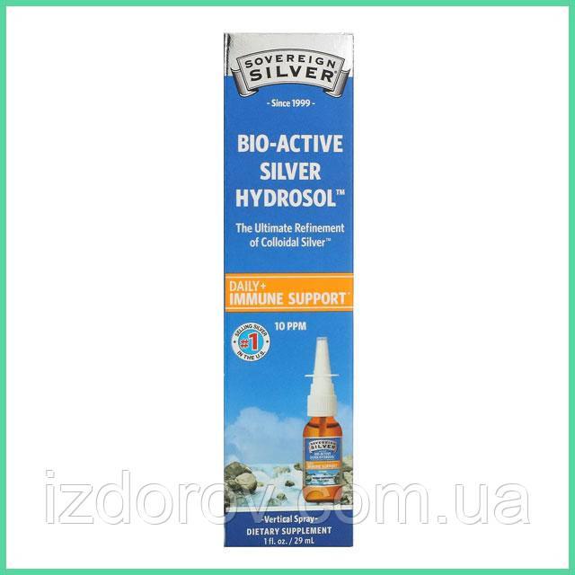 Sovereign Silver, Коллоидное серебро в виде спрея, биоактивный гидрозоль, для поддержки иммунитета, 29 мл. США