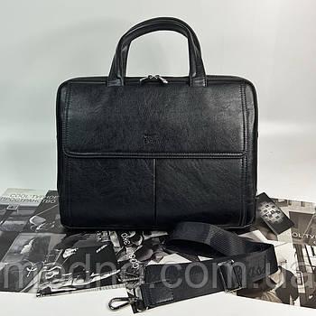 Чоловічий стильний діловий портфель на два відділення чорний