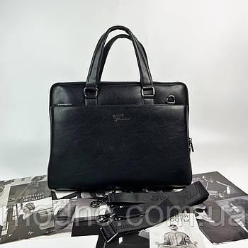 Чоловічий стильний діловий портфель для документів на два відділення чорний