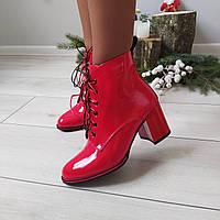 Женские ботинки деми на каблуке черные экокожа