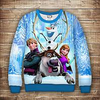 Світшот з принтом Frozen / Холодне Серце - Ельза,Олаф, Свен і Крістоф. Дорослі і дитячі розміри, фото 1