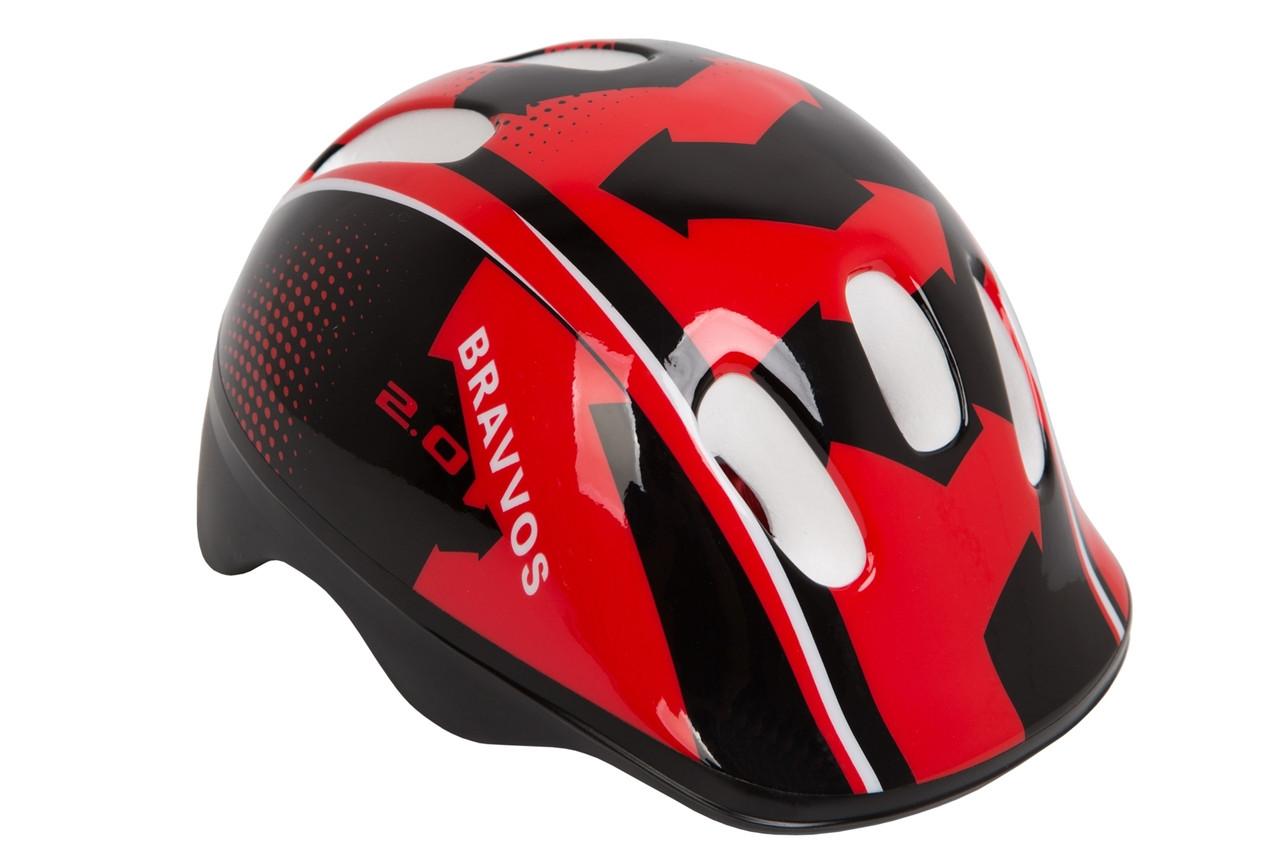Шлем велосипедный детский, Bravvos HEL100, черно-красный (48-55 см)