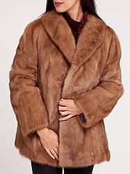 Шуба норкова жіноча коричнева, натуральна норка