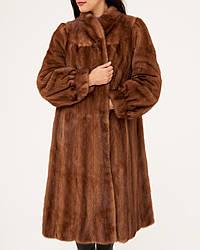 Норкова шуба Saga Mink коричнева натуральна жіноча довга з Німеччини