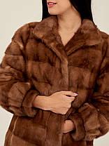 Норковая шуба коричневая поперечка из поперечных пластин, фото 3