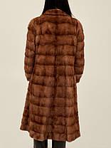 Норковая шуба коричневая поперечка из поперечных пластин, фото 2
