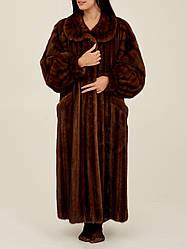 Норкова шуба Saga Mink коричнева жіноча довга шуба натуральна