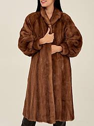 Норкова шуба Saga Mink коричнева натуральна жіноча довга