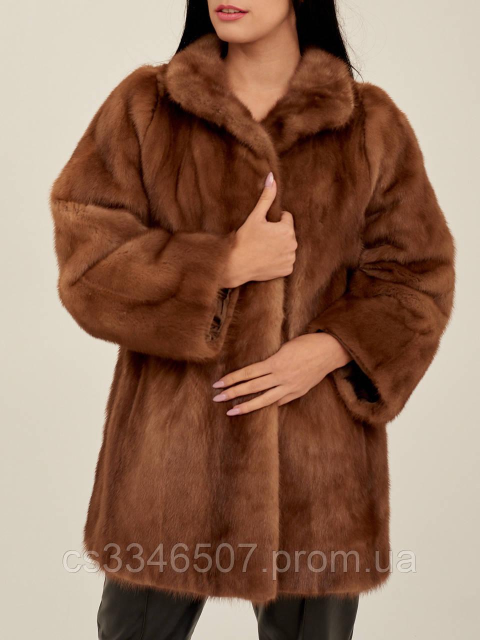 Норковая шуба коричневая женская Saga Mink