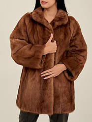 Норкова шуба коричнева жіноча Saga Mink