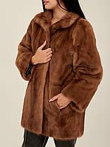 Норковая шуба коричневая женская Saga Mink, фото 3
