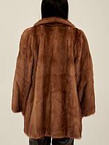 Норковая шуба коричневая женская Saga Mink, фото 2