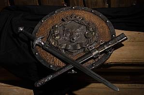 Комплект щит ''Волк'' + меч Викингов с рунами + ножны - кованая работа