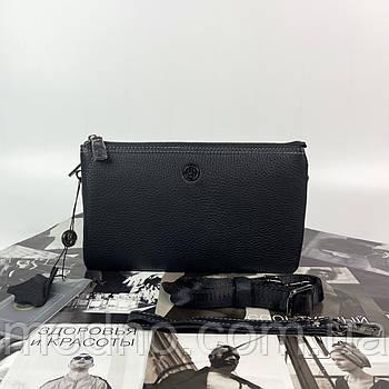 Чоловіча шкіряна сумка клатч через плече на три відділення H. T. Leather чорна