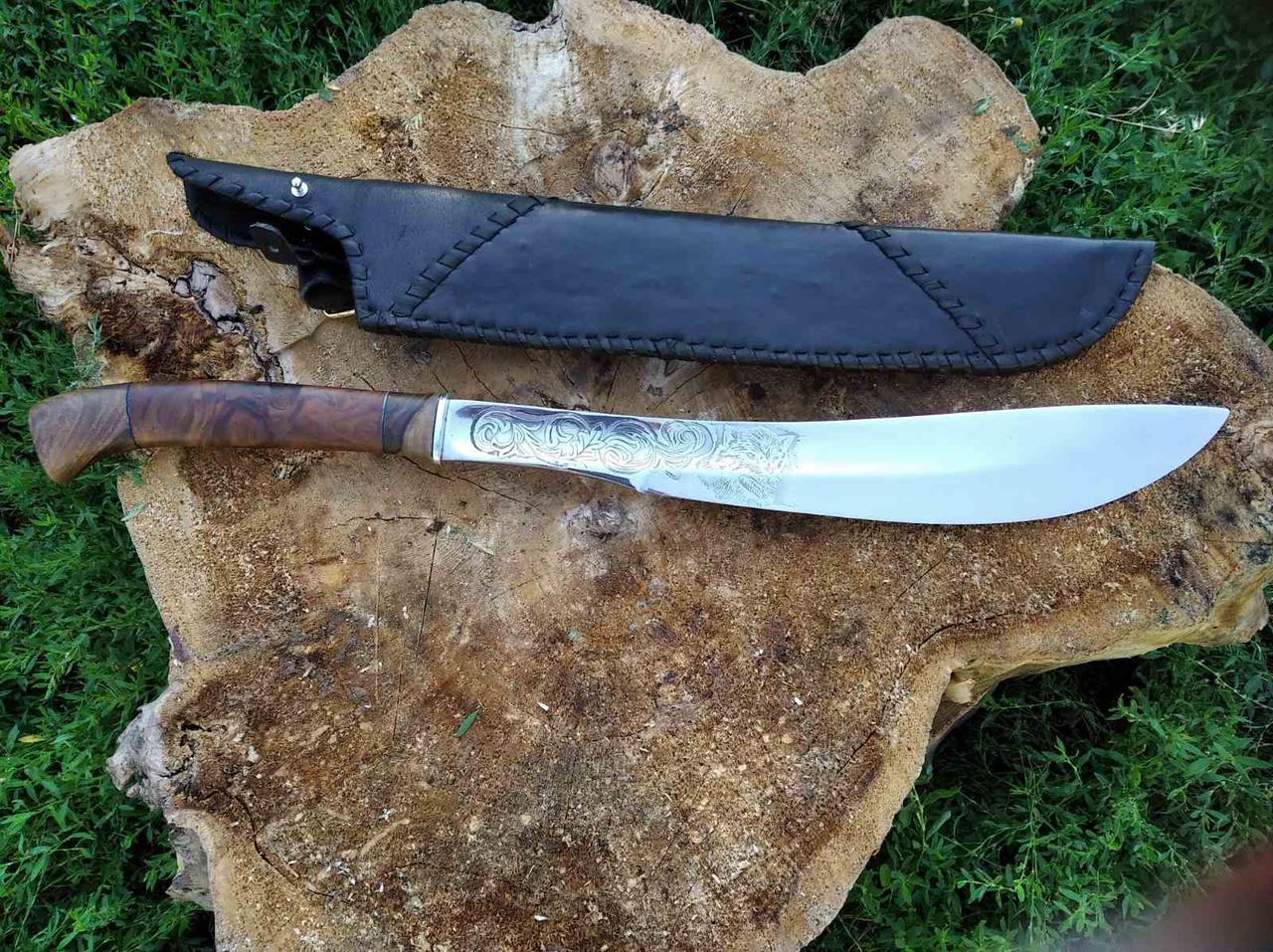 Идеальный Мачете Волк + кожаные ножны - кованая работа (гравировка, кожа, сталь Г90)