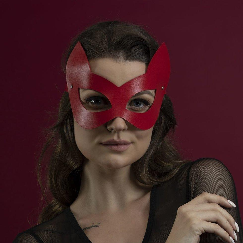 Маска кошки Feral Fillings Kitten Mask натуральная кожа Красный
