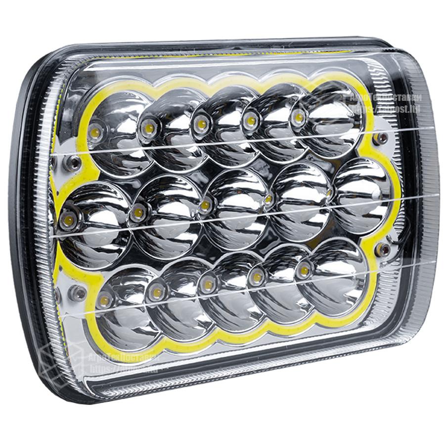 Фара LED прямоугольная 45W(элемент оптический)(15 диодов)(ближн. + дальний)(+ LED кольцо белое)(198х140х69)