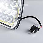 Фара LED прямоугольная 45W(элемент оптический)(15 диодов)(ближн. + дальний)(+ LED кольцо белое)(198х140х69), фото 3