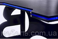 Компьютерный стол Barsky Homework Game Blue HG-04 с полкой HG-04 LED /ПК-01 1400*700, фото 2