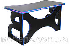 Компьютерный стол Barsky Homework Game Blue HG-04 с полкой HG-04 LED /ПК-01 1400*700, фото 3
