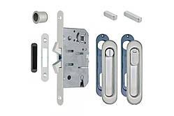 Замок для раздвижных дверей с ручками AGB Scivola-ТТ, матовый хром