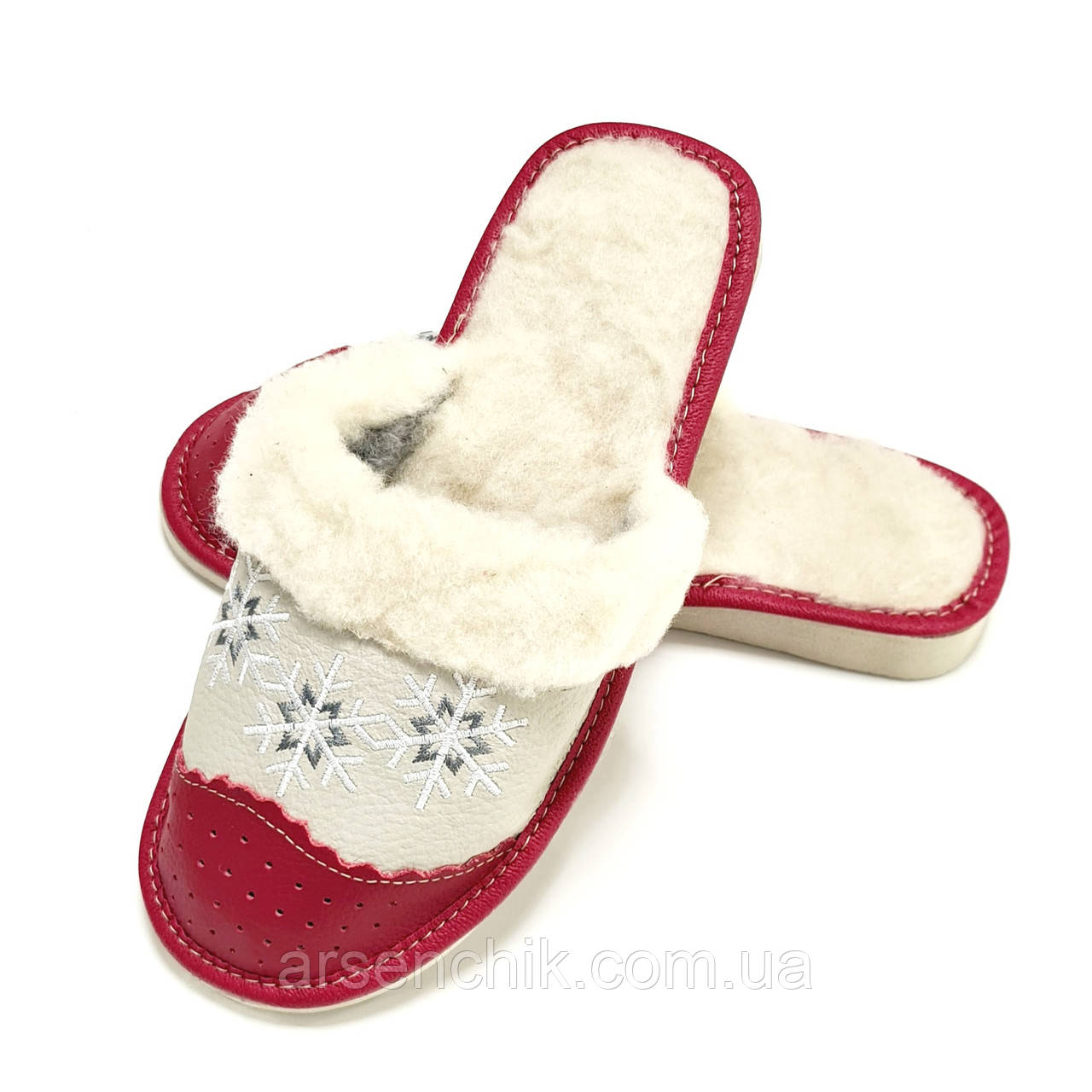 """Домашние кожаные тапочки женские на овчине """"Polmar"""" 37"""