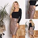 Женская черная кожаная юбка  мод.135  АЛекс размер 42/54, фото 3