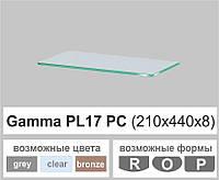 Скляні полиці настінні навісні прямокутні Commus PL17 PC (210х440х8мм), фото 1
