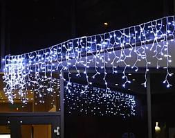 Вулична гирлянда  БАХРОМА 100 LED 4,5м*0,7м, білий каучук 3.3мм, білий холодний (з режимами)
