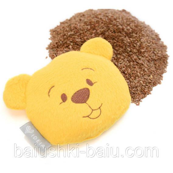 Детская подушка грелка Мишка (семена льна), 12х11 см