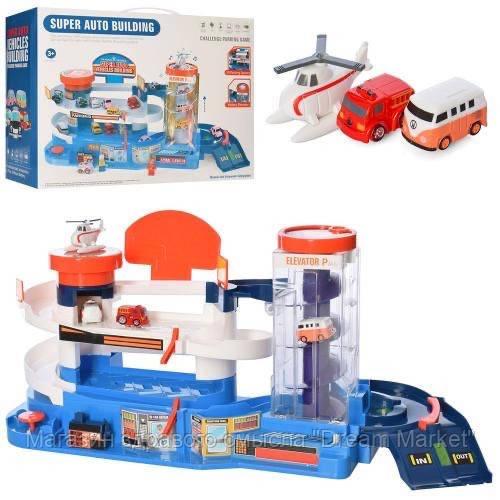 Игровой набор для мальчиков Автопаркинг с вертолетной площадкой и автоматическим подъемником, свет и звук