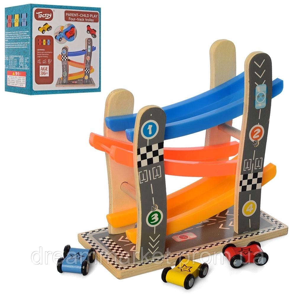 Игровой Развивающий набор для малышей автомобильный трек-спуск на деревянной основе с 3 машинками размером 4см